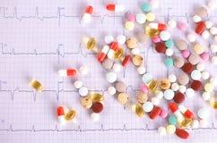 Mensonge coloré de pilules sur un cardiogramme de papier Photographie stock