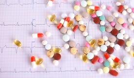 Mensonge coloré de pilules sur un cardiogramme de papier Photos libres de droits