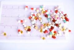 Mensonge coloré de pilules sur un cardiogramme de papier Photos stock