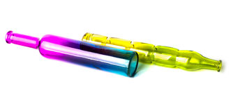 Mensonge décoratif coloré de deux beau bouteilles Photo libre de droits