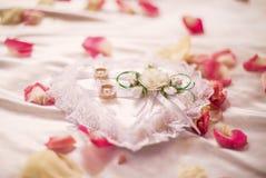 Mensonge de bagues de fiançailles de mariage dans un oreiller Image stock