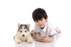 Mensonge de chiot de garçon asiatique mignon et de costaud sibérien Image libre de droits