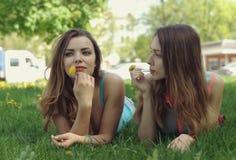 Mensonge de deux amies sur une pelouse verte Photos stock