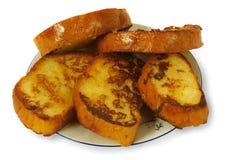 Mensonge frit de pains grillés d'une plaque Photographie stock