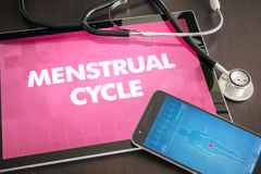 Menstrual cycle (menses, ovulation, fertility) diagnosis medical. Concept on tablet screen with stethoscope Royalty Free Stock Photo