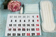 Menstrual pads, blood period calendar and clocks. Menstruation period pain protection. Feminine hygiene products stock images