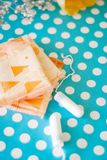 Menstrual tampons and pads on a blue background. Menstruation cycle. Hygiene and protection. stock photos