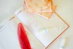 menstruatie Vult voeringen, tampons en kalender met rode dagen op een witte achtergrond op stock foto's