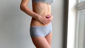 Menstruation pain. Woman body feeling abdominal pain. Illness spasm in body. Menstruation pain. Woman body feeling abdominal pain. Illness spasm in body stock video footage