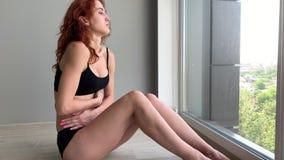 Menstruation pain. Woman body feeling abdominal pain. Illness spasm in body. Menstruation pain. Woman body feeling abdominal pain. Illness spasm in body stock footage