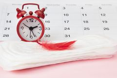 Menstruation Sanitary pad for woman menstrual period. Clocks and calendar. Menstruation Sanitary pad for woman menstrual period. Calendar and clock stock image