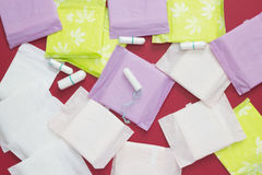Menstruation sanitary soft cotton pads and cotton tampon for woman hygiene protection. Woman critical days, gynecological menstrua. Menstruation sanitary soft stock image