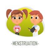 Menstruationläkarundersökningbegrepp också vektor för coreldrawillustration Arkivbilder