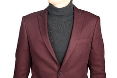 Menswear, Close-up fragment of male crimson jacket suit, on whit Royalty Free Stock Images