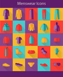 Menswear Flat Icons Stock Image