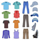 Menswear, headgear & shoes colored season collection Stock Image