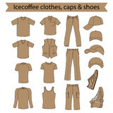 Menswear, headgear & shoes icecoffee collection Royalty Free Stock Photos