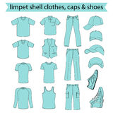 Menswear, headgear & shoes limpet shell collection Royalty Free Stock Photo