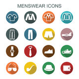 Menswear long shadow icons Royalty Free Stock Images