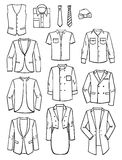 Menswear. A set of silhouettes of mens jackets, shirts and ties, vector illustration Royalty Free Stock Photo