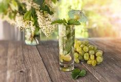 Menta de agua del Detox, jugo de uva e hielo en un vidrio en un fondo de un ramo de cereza y de uvas en un día soleado El horizon Fotos de archivo