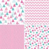 Menta geometrica senza cuciture rassodata di bianco di rosa dei modelli illustrazione di stock