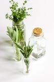 Menta, salvia, rosmarino, timo nel fondo di bianco delle bottiglie di vetro Immagine Stock