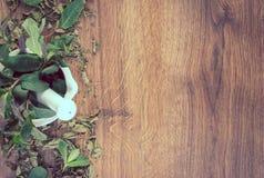 Menta verde de la foto del vintage, secado y fresco con el mortero, concepto sano de la forma de vida, espacio de la copia para e imagen de archivo
