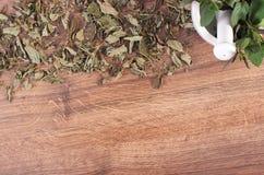 Menta verde secada y fresca con el mortero, concepto sano de la forma de vida, espacio de la copia para el texto foto de archivo libre de regalías