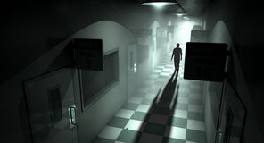 Mental Asylum With Ghostly Figure. A ghostly figure casts a long shadow down the middle of a dimly lit passage of a dilapidated mental asylum royalty free stock photography
