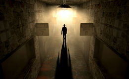 Mental Asylum With Ghostly Figure stock image