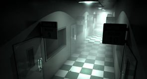 Mental Asylum Haunted. An eerie haunted look down the dimly lit passage of a dilapidated mental asylum with rooms and signs stock image