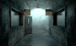 Mental Asylum Haunted. An eerie haunted look down the dimly lit passage of a dilapidated mental asylum with rooms and signs royalty free stock photo