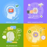 Mental Concept Flat Design. With mind manipulation, relationships, thinking, psychological health isolated on color background vector illustration royalty free illustration