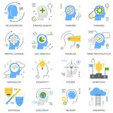 Mental Concept Flat Icons. Mental concept set of flat icons with self analysis, training, thinking, phobias and emotions isolated vector illustration royalty free illustration