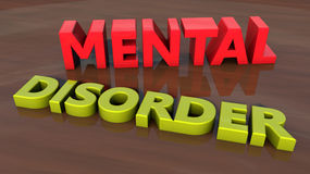 Mental disorder 3d text Royalty Free Stock Image