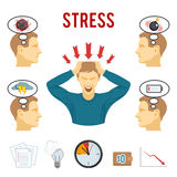 Mental disorder and stress icons set stock illustration