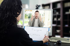 Mental disordered man receives online psychotherapy Stock Photos