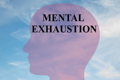 Mental Exhaustion concept. Render illustration of MENTAL EXHAUSTION title on head silhouette, with cloudy sky as a background Stock Images