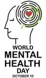 Mental hälsadag stock illustrationer