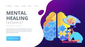 Mental healing therapist landing page. vector illustration