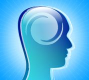 Mental health. Human head with twist inside over abstract blue background. Psychological concept: mental health Royalty Free Stock Image