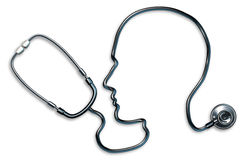Mental health. With stethoscope in the form of a human head and brain used in a clinic for a mental Medical Exam by doctors on a white background representing Stock Photos
