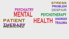 Mental health animated word cloud, text design animation royalty free illustration