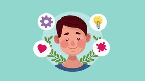 Mental health animation with young man and set icons