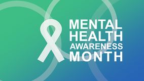 Mental Health Awareness poster and banner, highlighting awareness of mental health. Mental Health Awareness in May an annual campaign in the United States stock illustration
