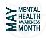Mental health awareness month, vector flat style. Mental health awareness month concept. Square typography design, vector royalty free illustration