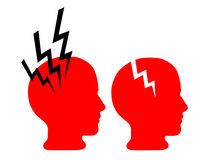 Mental health - brain damage, pain headache. Two heads with sources of pain Royalty Free Stock Image