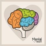 Mental health brain heart. Vector illustration eps 10 royalty free illustration