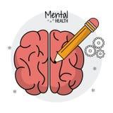 Mental health brain human pencil idea. Vector illustration eps 10 Royalty Free Stock Photography